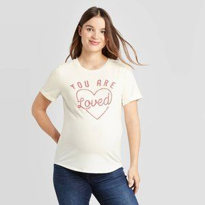 Maternity Rolled Cuff You Are Loved Graphic Tee